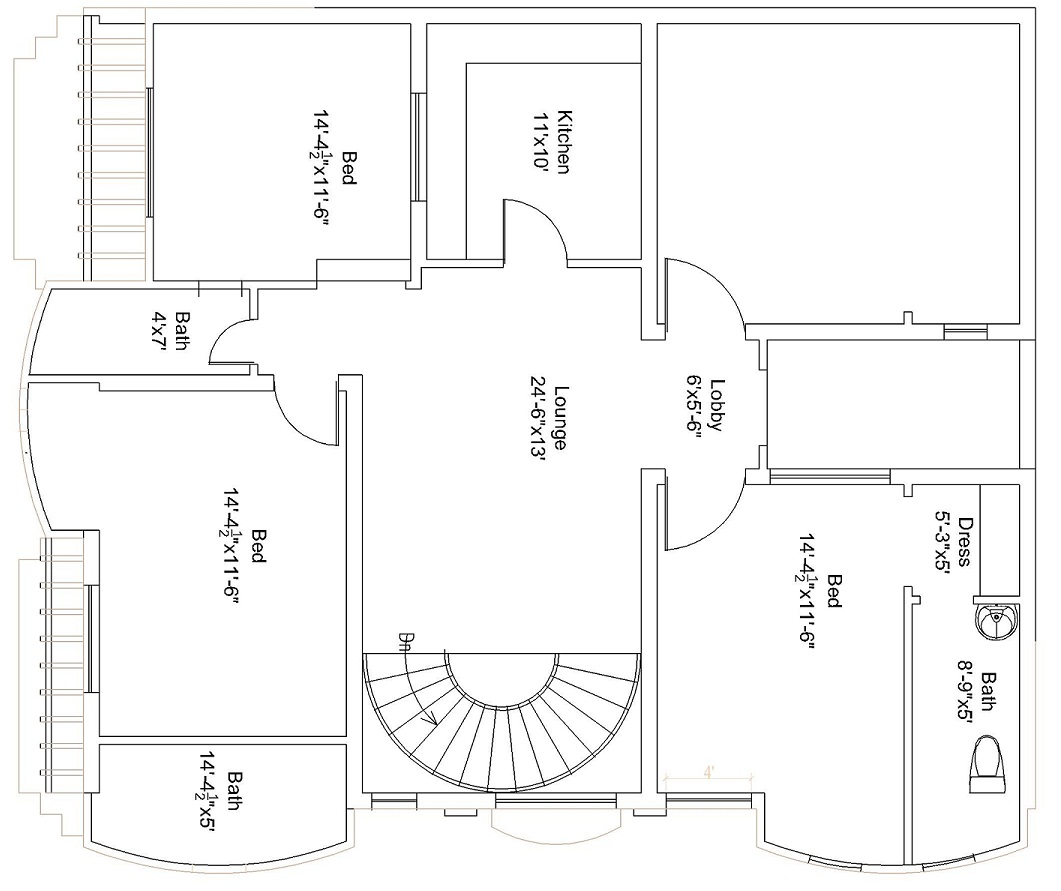 House Plan For 15 Feet By 50 Feet Plot Plot Size 83: 44×37 Feet / 151 Square Meters House Plan