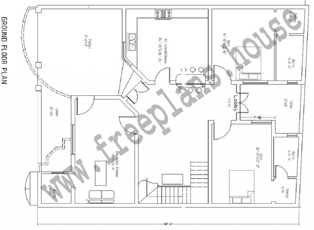 40 x52 193 square meters house plan 40 sq house plans