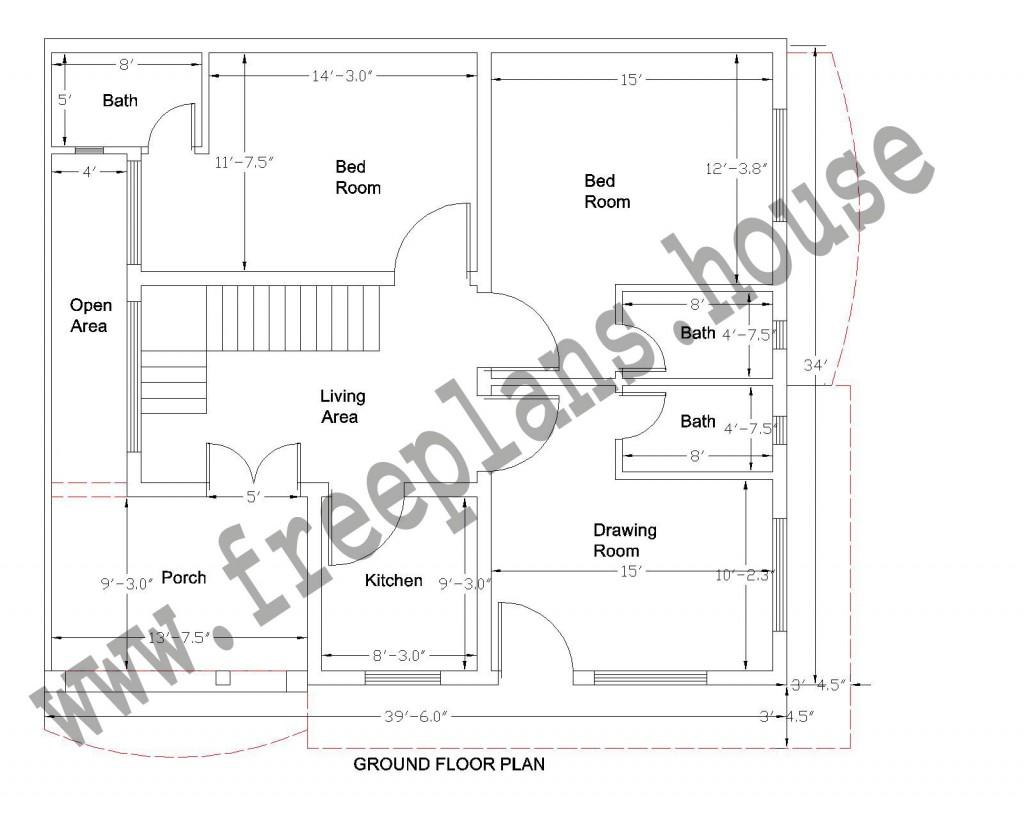 39 34 feet 123 square meter house plan. Black Bedroom Furniture Sets. Home Design Ideas