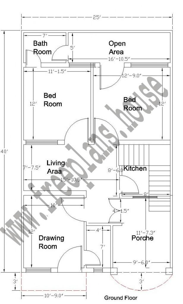 20X40 Feet Ground Floor Plan