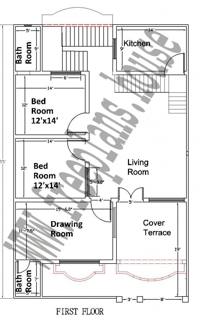 35×55 Feet/ 178 Square Meters House Plan - Free House Plans