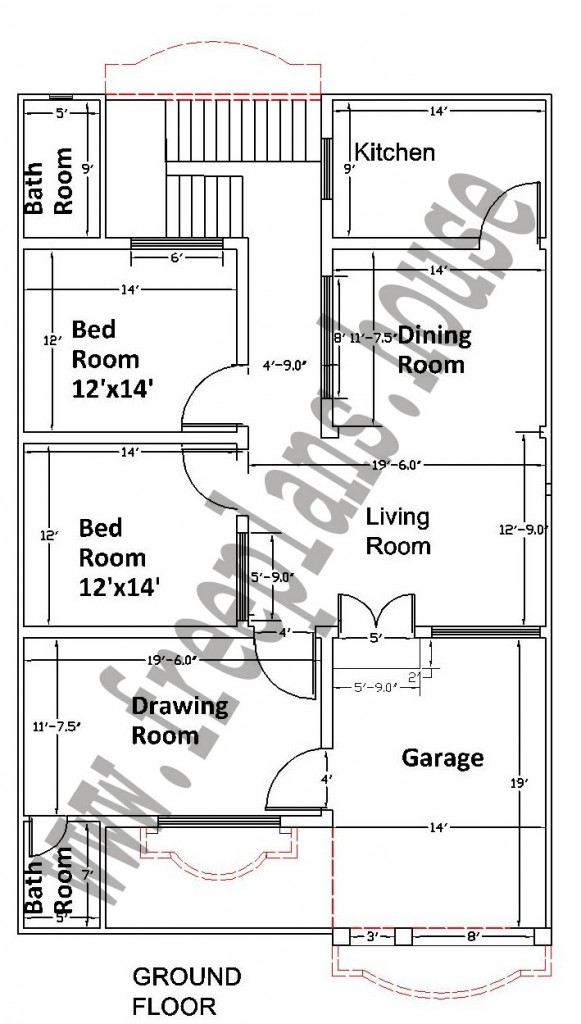 35 55 feet 178 square meters house plan for Square footage of a room for flooring