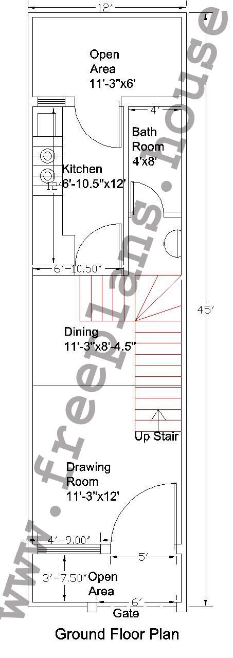 12x45 Feet Ground Floor Plan