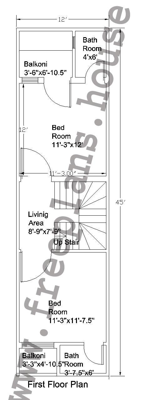 12x45 Feet First Floor Plan,