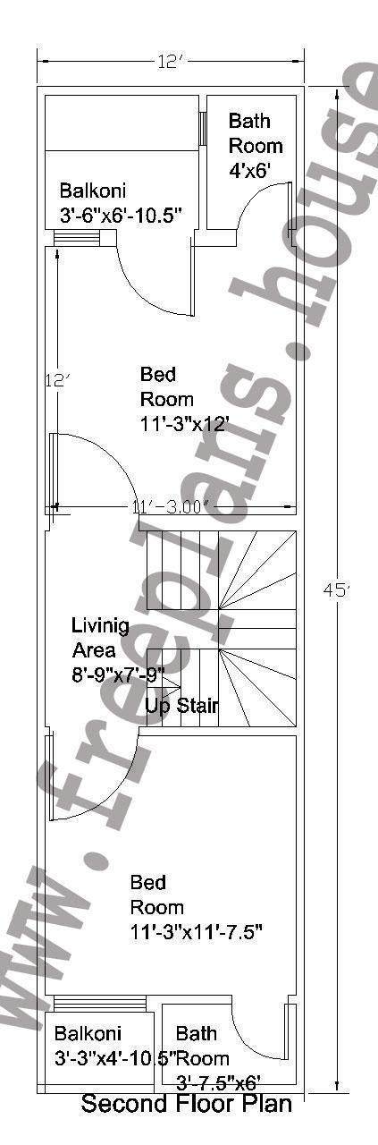 12x45 Feet Second Floor Plan,