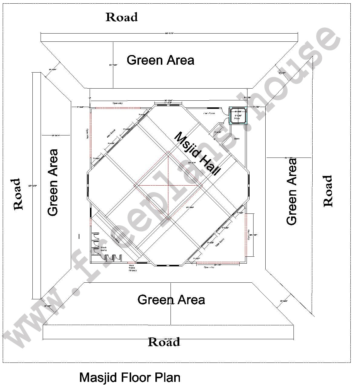 145 145 Feet 1953 Square Meter Masjid Plan