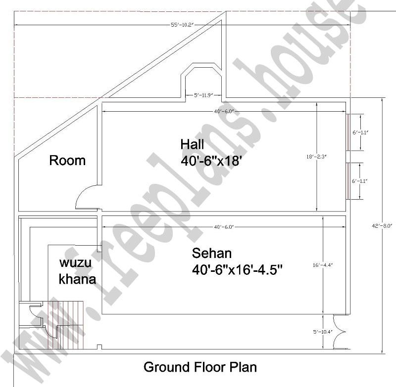 42x56 Feet  Masjid Ground Floor Plan