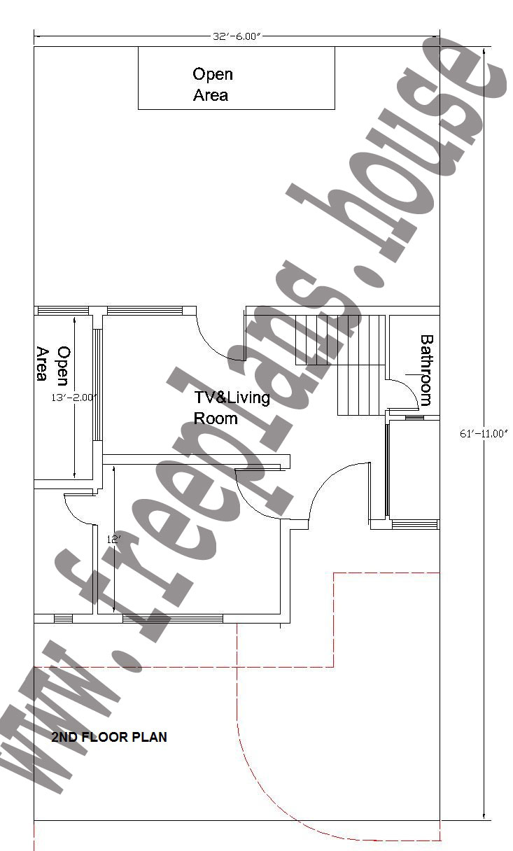 32x62 Feet 2nd Floor Plan