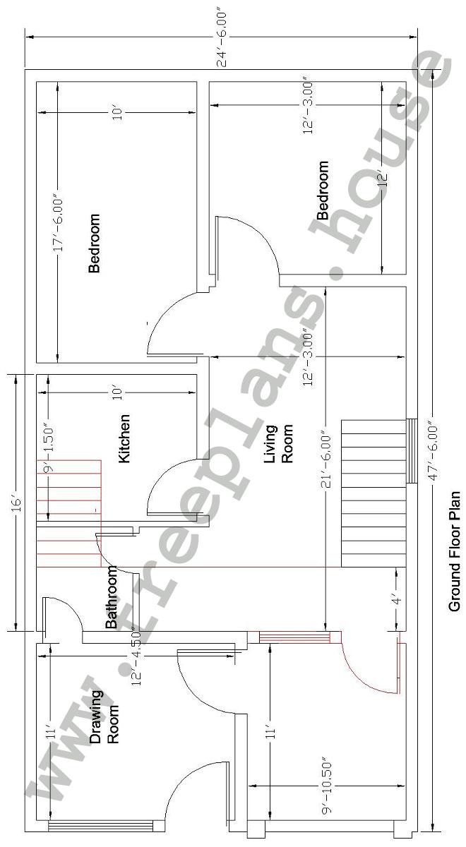 25x48 Feet  Ground Floor Plan,