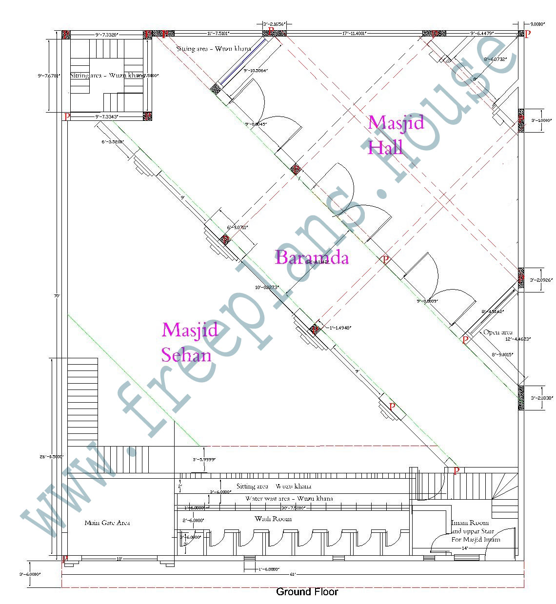 70 61 feet 4270 square feet 396 square meters masjid plan