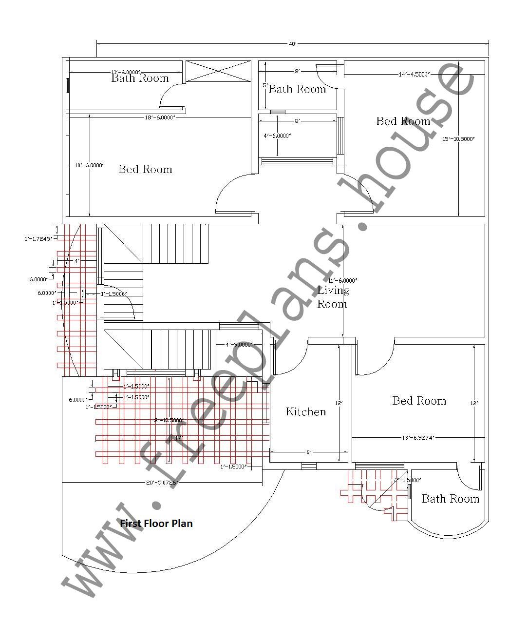 40x47 feet 1880 sq feet 175 sq meters house plan for I square foot plan room