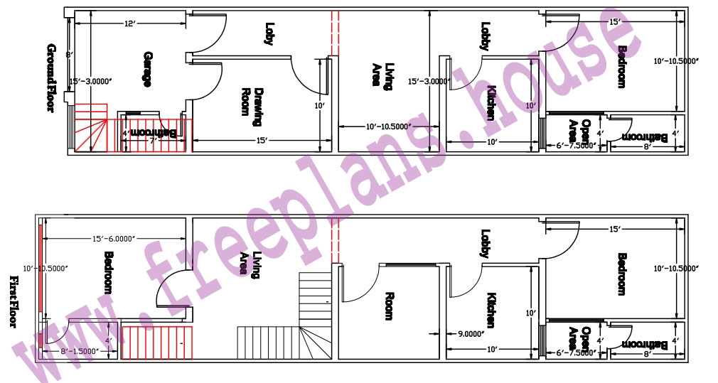 16x65-Square Feet-House-Plan-Ground and First Floor Plan