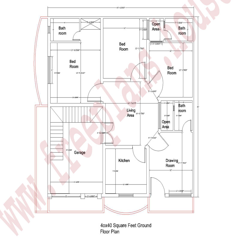 40x40-square-Feet-Ground-Floor Plan